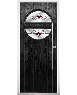The Xenia Composite Door in Black with Red Crystal Bohemia