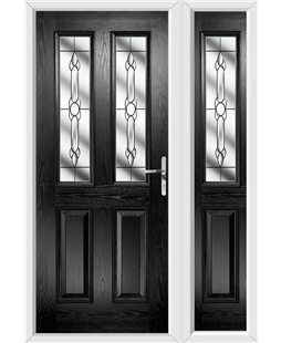 The Cardiff Composite Door in Black with Crystal Bohemia and matching Side Panel