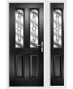 The Aberdeen Composite Door in Black with Crystal Bohemia and matching Side Panel