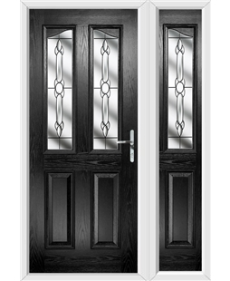 The Birmingham Composite Door in Black with Crystal Bohemia and matching Side Panel