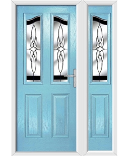The Birmingham Composite Door in Blue (Duck Egg) with Black Crystal Harmony and matching Side Panel