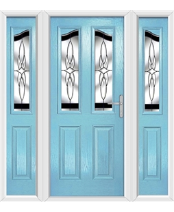 The Birmingham Composite Door in Blue (Duck Egg) with Black Crytsal Harmony and matching Side Panels