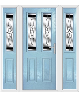 The Cardiff Composite Door in Blue (Duck Egg) with Black Crystal Harmony and matching Side Panels