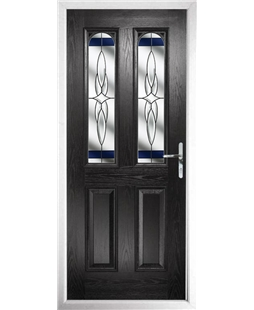 The Aberdeen Composite Door in Black with Blue Crystal Harmony
