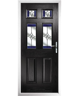 The Oxford Composite Door in Black with Blue Crystal Harmony
