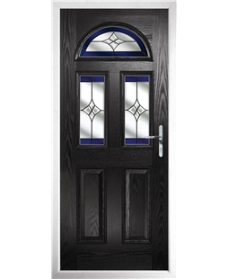 The Glasgow Composite Door in Black with Blue Crystal Harmony