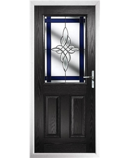 The Farnborough Composite Door in Black with Blue Crystal Harmony