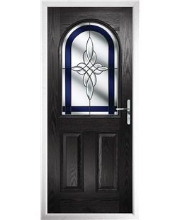 The Edinburgh Composite Door in Black with Blue Crystal Harmony