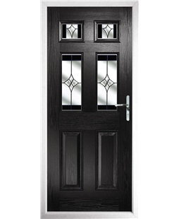 The Oxford Composite Door in Black with Black Crystal Harmony