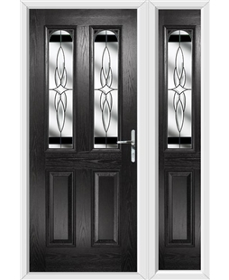 The Aberdeen Composite Door in Black with Black Crystal Harmony and matching Side Panel