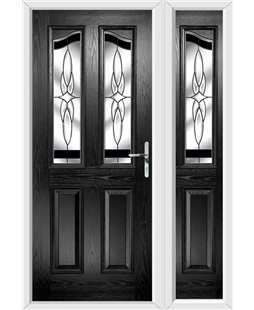 The Birmingham Composite Door in Black with Black Crystal Harmony and matching Side Panel