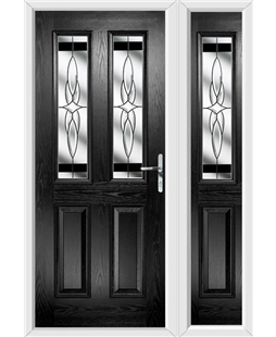 The Cardiff Composite Door in Black with Black Crystal Harmony and matching Side Panel