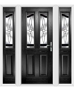 The Birmingham Composite Door in Black with Black Crystal Harmony and matching Side Panels