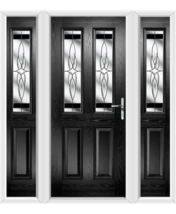 The Cardiff Composite Door in Black with Black Crystal Harmony and matching Side Panels
