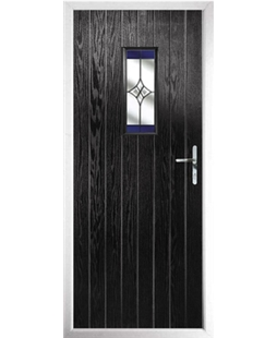 The Taunton Composite Door in Black with Blue Crystal Harmony