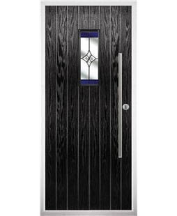 The Zetland Composite Door in Black with Blue Crystal Harmony