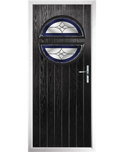 The Queensbury Composite Door in Black with Blue Crystal Harmony