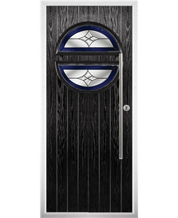 The Xenia Composite Door in Black with Blue Crystal Harmony
