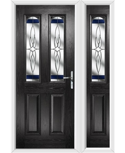 The Aberdeen Composite Door in Black with Blue Crystal Harmony and Matching Panel