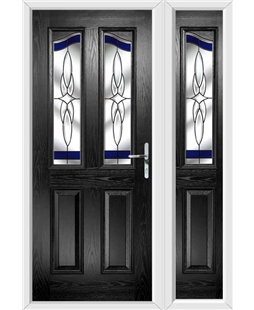 The Birmingham Composite Door in Black with Blue Crystal Harmony and matching Side Panel
