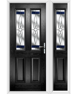 The Cardiff Composite Door in Black with Blue Crystal Harmony and matching Side Panel