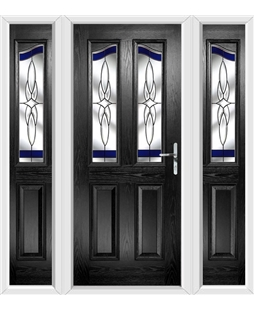 The Birmingham Composite Door in Black with Blue Crystal Harmony and matching Side Panels