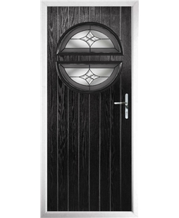 The Queensbury Composite Door in Black with Crystal Harmony Frost