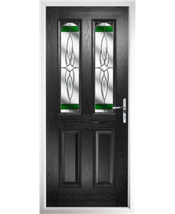 The Aberdeen Composite Door in Black with Green Crystal Harmony
