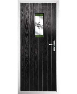 The Taunton Composite Door in Black with Green Crystal Harmony