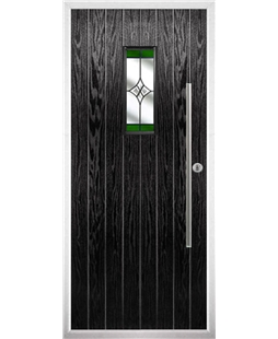 The Zetland Composite Door in Black with Green Crystal Harmony