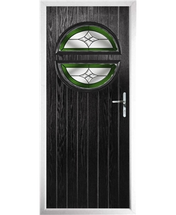 The Queensbury Composite Door in Black with Green Crystal Harmony