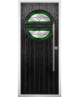 The Xenia Composite Door in Black with Green Crystal Harmony