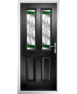 The Cardiff Composite Door in Black with Green Crystal Harmony
