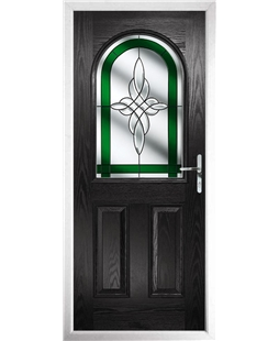 The Edinburgh Composite Door in Black with Green Crystal Harmony