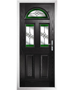 The Glasgow Composite Door in Black with Green Crystal Harmony