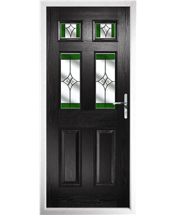 The Oxford Composite Door in Black with Green Crystal Harmony
