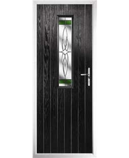 The Sheffield Composite Door in Black with Green Crystal Harmony