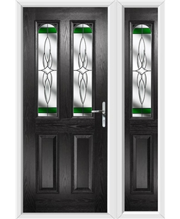 The Aberdeen Composite Door in Black with Green Crystal Harmony and matching Side Panel