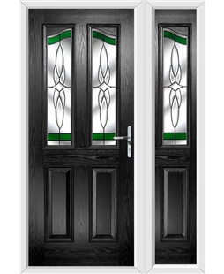 The Birmingham Composite Door in Black with Green Crystal Harmony and matching Side Panel