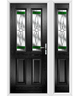 The Cardiff Composite Door in Black with Green Crystal Harmony and matching Side Panel