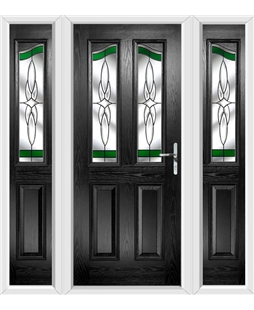 The Birmingham Composite Door in Black with Green Crystal Harmony and matching Side Panels