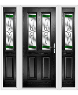 The Cardiff Composite Door in Black with Green Crystal Harmony and matching Side Panels