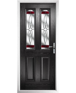The Aberdeen Composite Door in Black with Red Crystal Harmony