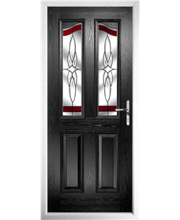 The Birmingham Composite Door in Black with Red Crystal Harmony