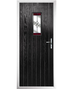 The Taunton Composite Door in Black with Red Crystal Harmony