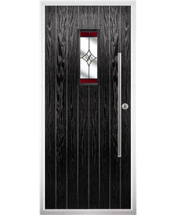 The Zetland Composite Door in Black with Red Crystal Harmony