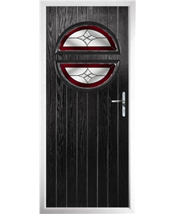 The Queensbury Composite Door in Black with Red Crystal Harmony