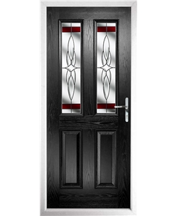 The Cardiff Composite Door in Black with Red Crystal Harmony