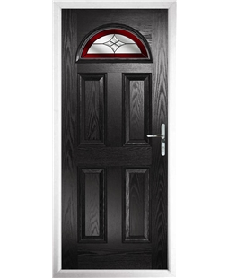 The Derby Composite Door in Black with Red Crystal Harmony