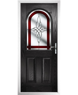 The Edinburgh Composite Door in Black with Red Crystal Harmony
